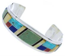 Southwest Sterling Silver Multicolor Jewelry Cuff Bracelet