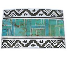Sterling Silver Turquoise Inlay Water Wave Bear Belt Buckle