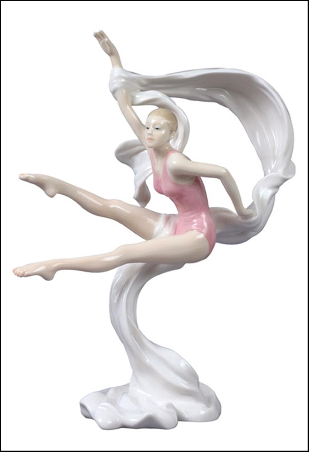 MODERN DANCE FEMALE JUMP WITH RIBBON