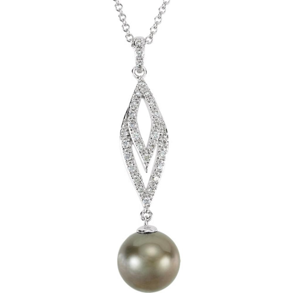 """14K White 1/5 CTW Diamond and Tahitian Cultured Pearl 18"""" Necklace"""