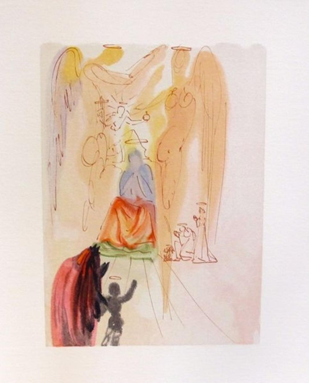 Salvador Dali 1960 Divine Comedy Paradise #23 Color Woodcut Wood Block Engraving