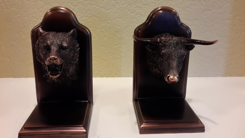 Bear and Bull Head Bookends