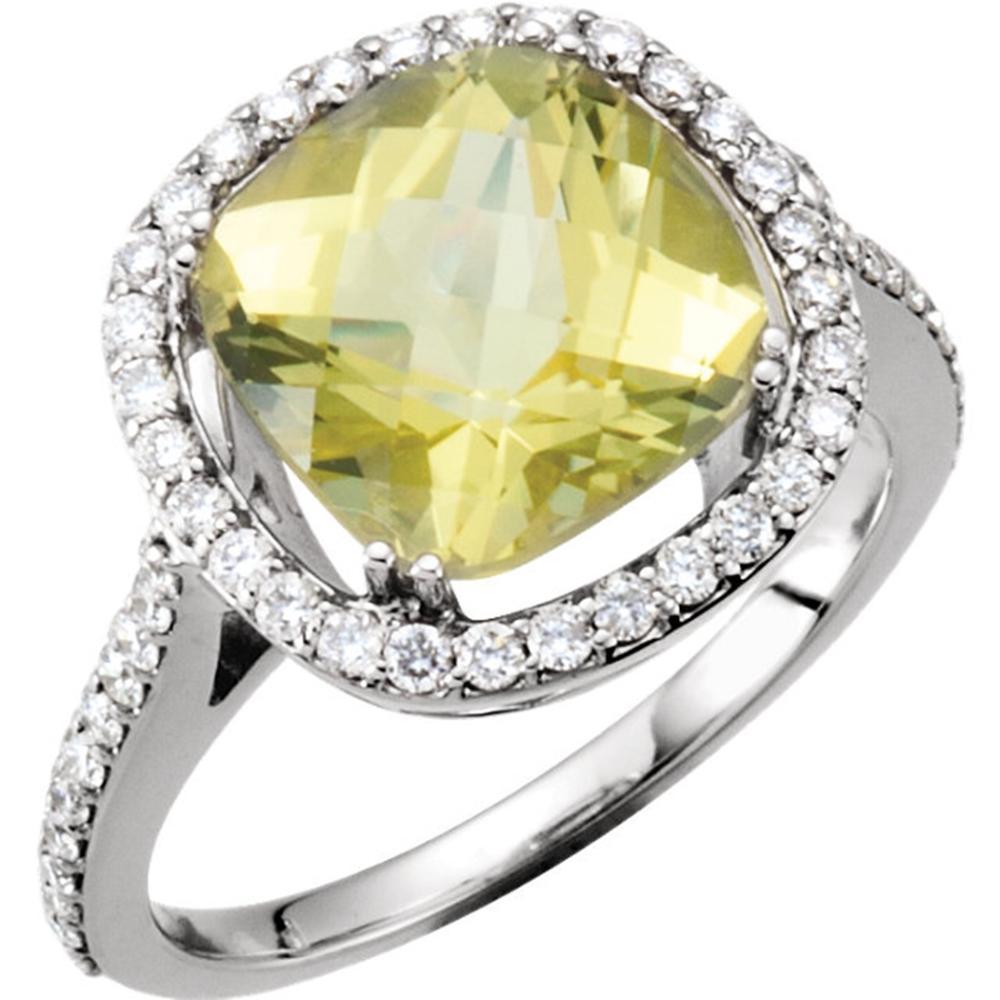 14K White 1/2 CTW Diamond & 10x10mm Lemon Quartz Ring