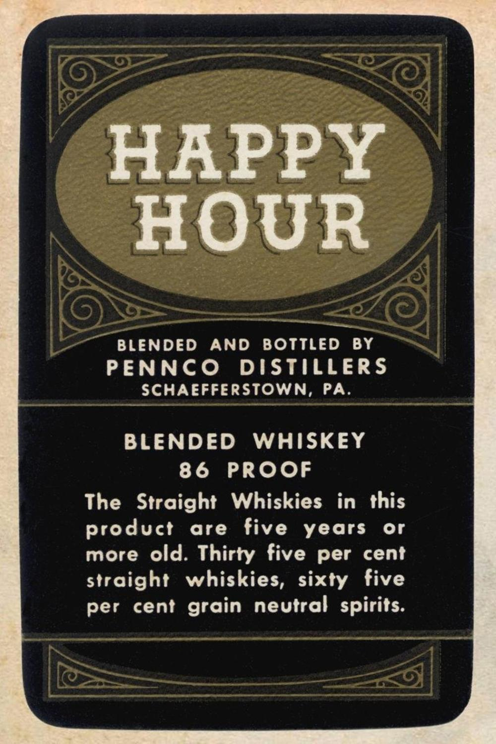 VINTAGE BOOZE LABELS HAPPY HOUR BLENDED WHISKEY