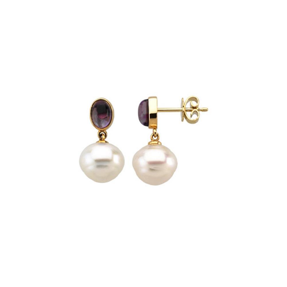 14K Yellow 8x6mm Amethyst & 12mm South Sea Cultured Pearl Earrings