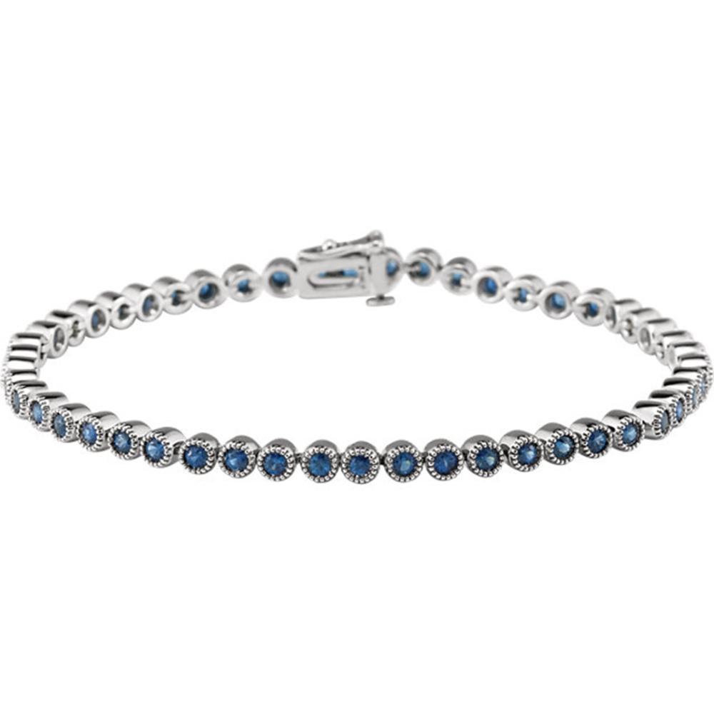 "14K White Blue Sapphire 7.25"" Line Bracelet"