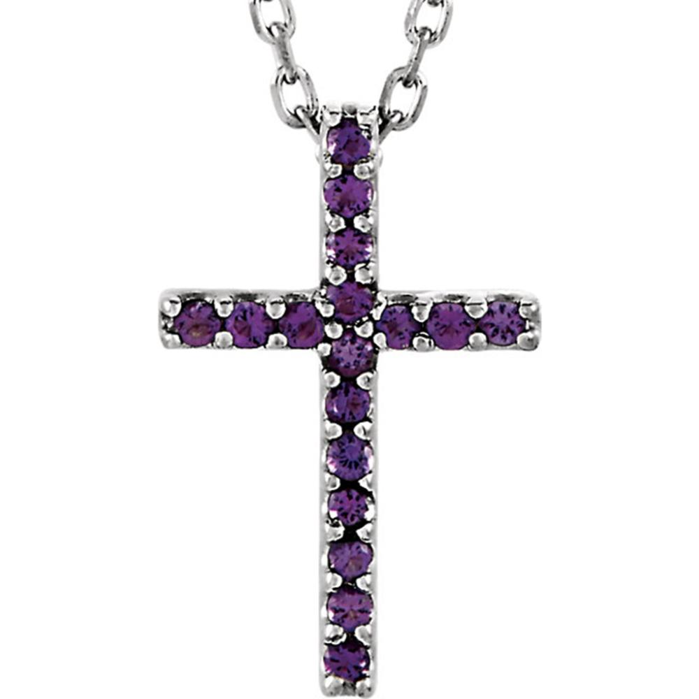"14K White Amethyst Cross 16"" Necklace"