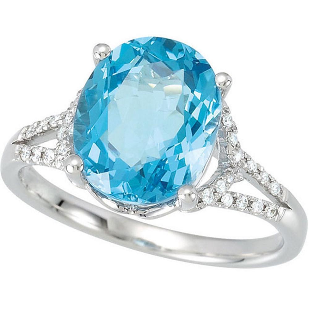 Swiss Blue Topaz & 1/6 CTW Diamond Ring