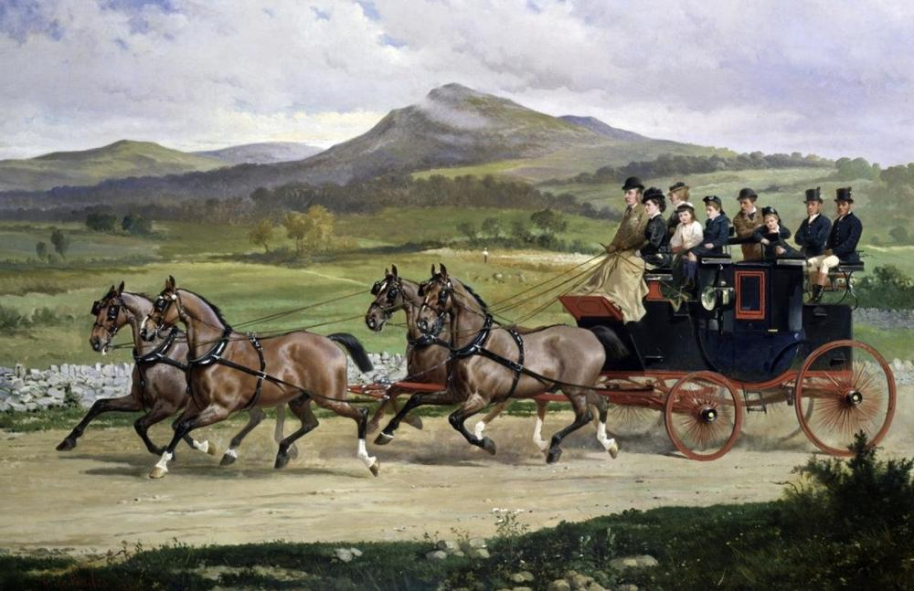ALFRED F. DE PRADES COACH & FOUR HORSES ON THE OPEN ROAD