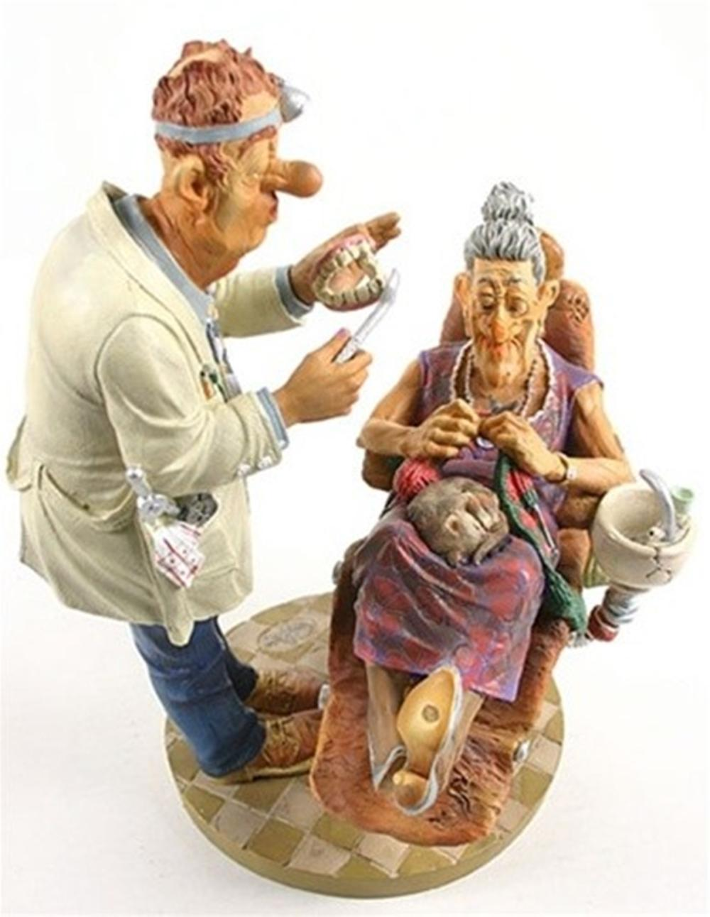 Dentist with Grandma Knitting Statue Profisti Parastone