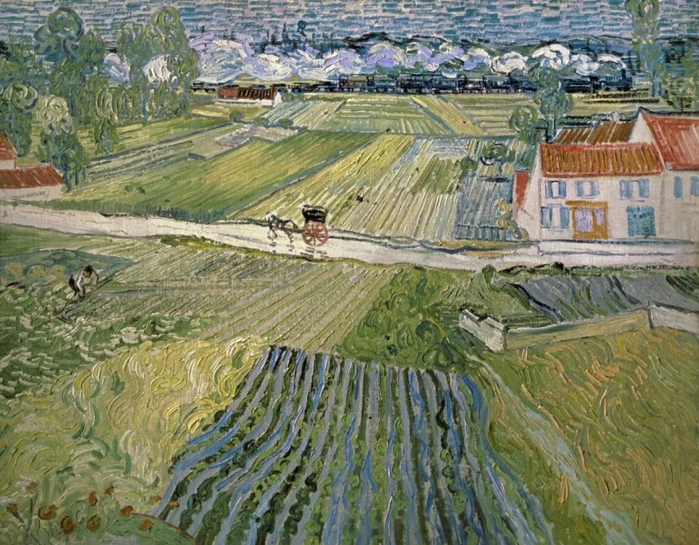 VINCENT VAN GOGH LANDSCAPE WITH CARRIAGE AND TRAIN