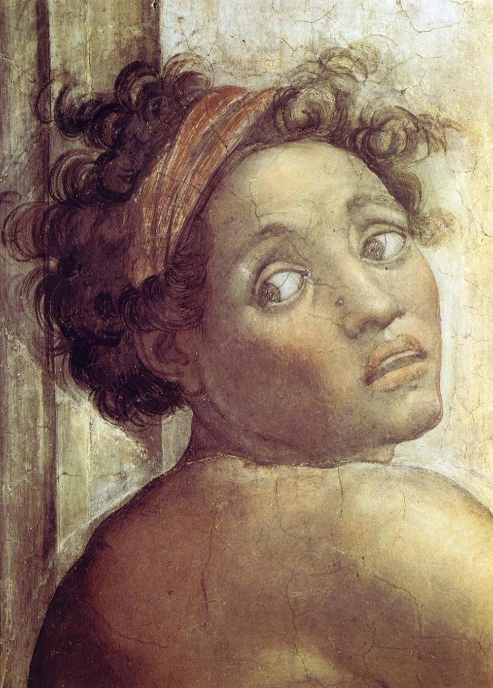 MICHELANGELO NUDE FIGURE NEXT TO THE SCENE OF NOAHS SACRIFICE DETAIL 1509