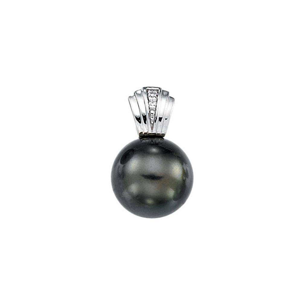 14K White .01 CTW Diamond & 11mm Tahitian Pearl Pendant