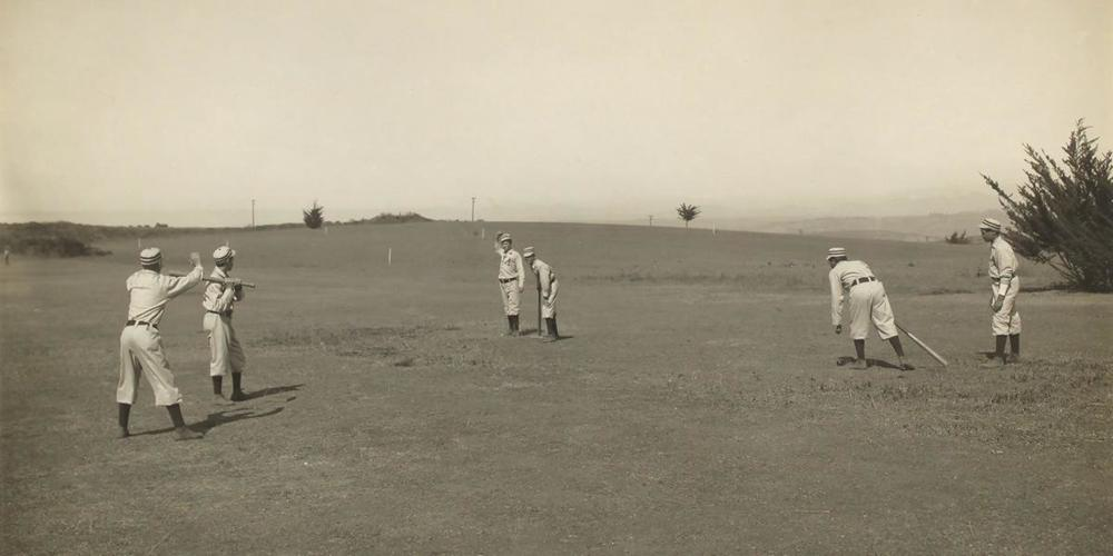A.G. SPALDING BASEBALL COLLECTION SIX BOYS WITH A BALL AND THREE BATS, PLAYING THREE OLD CAT