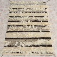 Navajo Handwoven Wool Rug with Sheep Fur Trim 29.5