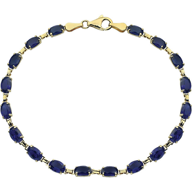 14K Yellow Lab-Grown Blue Sapphire 7