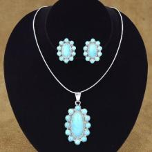 Blue Turquoise Cluster Silver Necklace Set with Post Earrings
