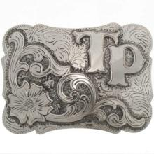 Custom Silver Belt Buckle Western Style Initials Letters