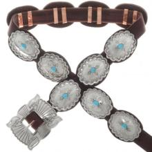 Silver Concho Belt Southwest Kingman Turquoise Navajo Made