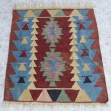 Southwest Style Colorful Wool Rug Flat Woven 45