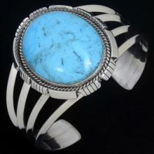 Blue Turquoise Cuff Sterling Native American Bracelet