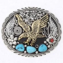 Native American Eagle Belt Buckle Gold Silver Display