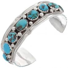 Native American Turquoise Bracelet Silver Cuff