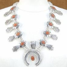 Native American Spiny Oyster Sterling Silver Squash Blossom Necklace