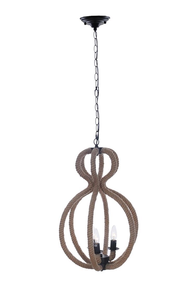Rope Pendant Lamp 3 Bulbs