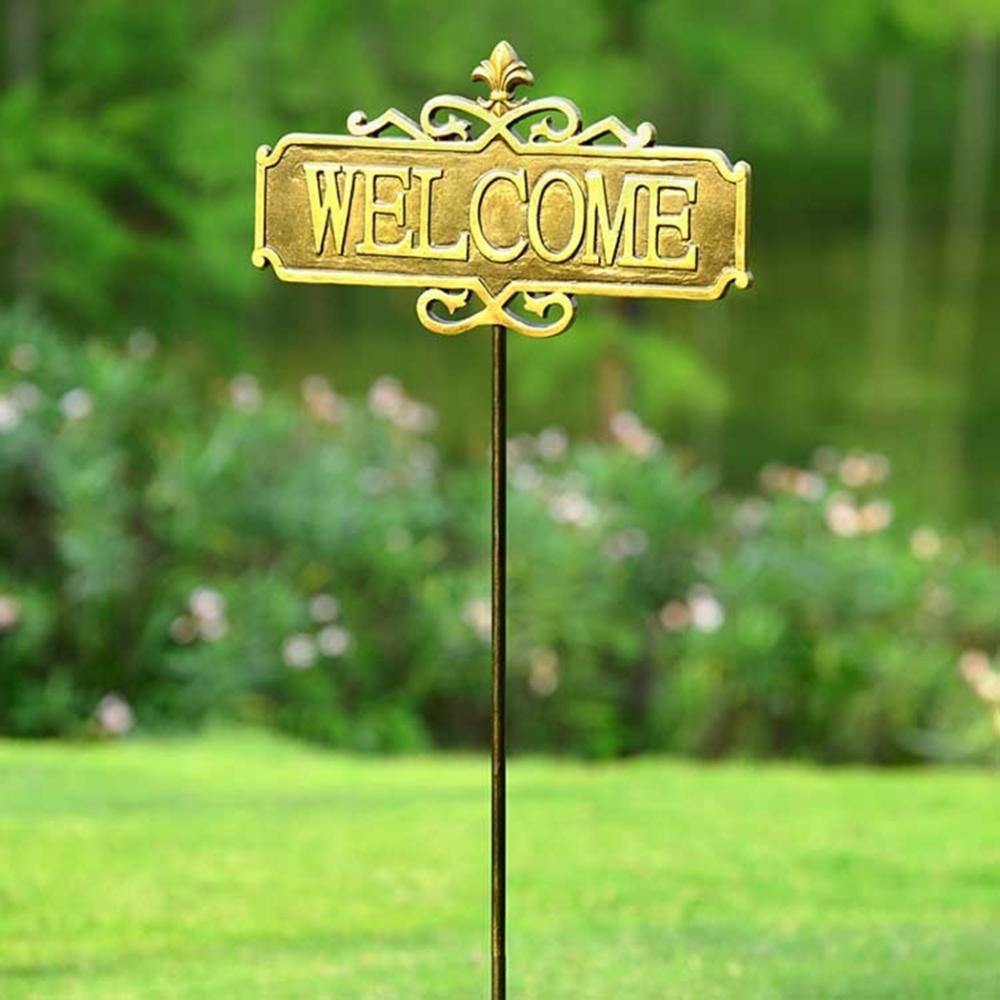 Fleur De Lis Garden Welcome Sign