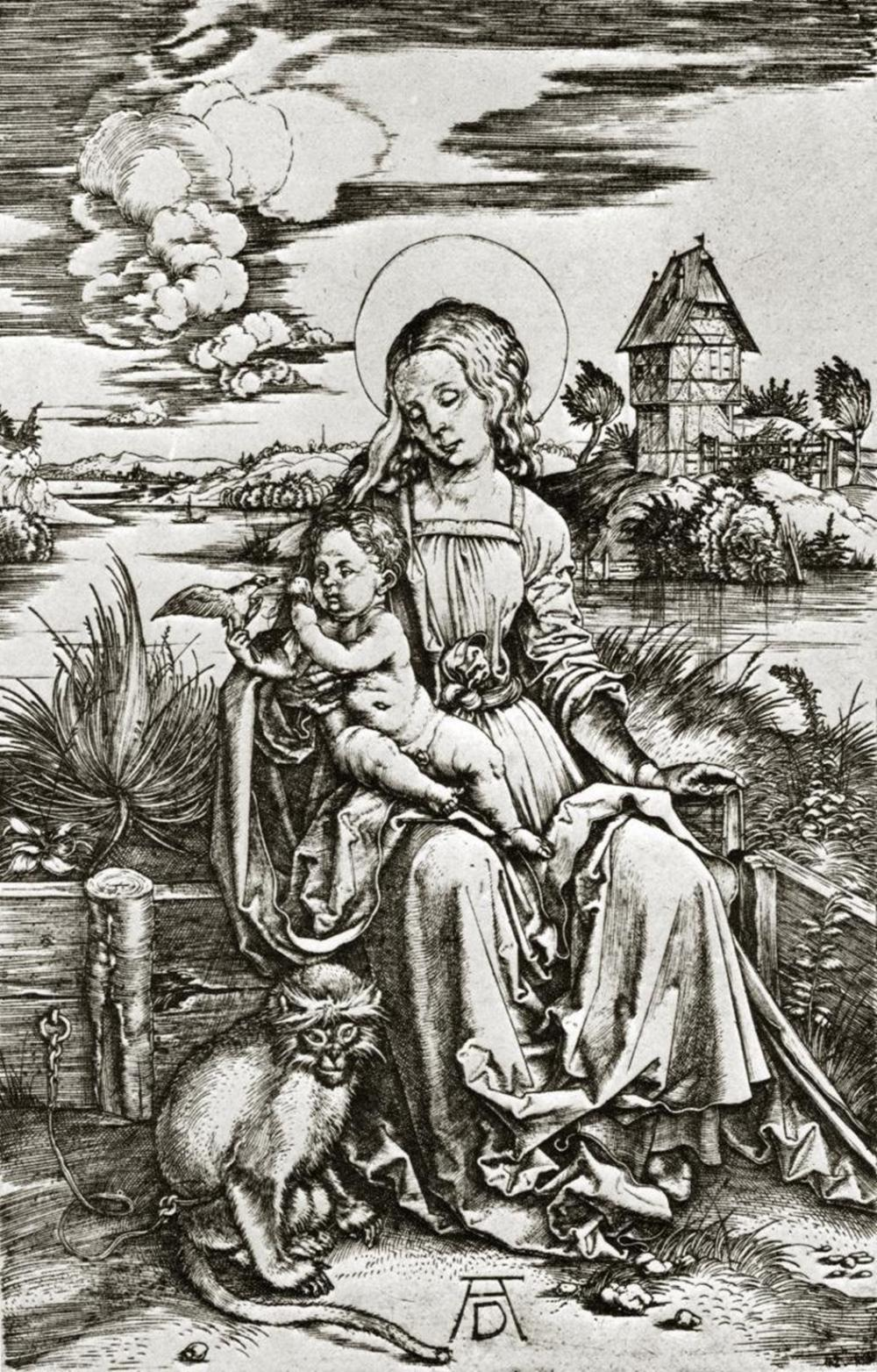 ALBRECHT DURER THE VIRGIN MARY WITH THE MONKEY