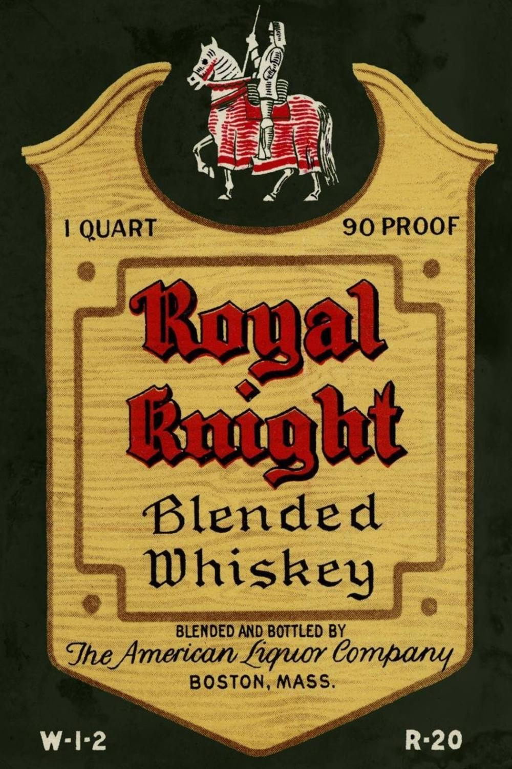 VINTAGE BOOZE LABELS ROYAL KNIGHT BLENDED WHISKEY