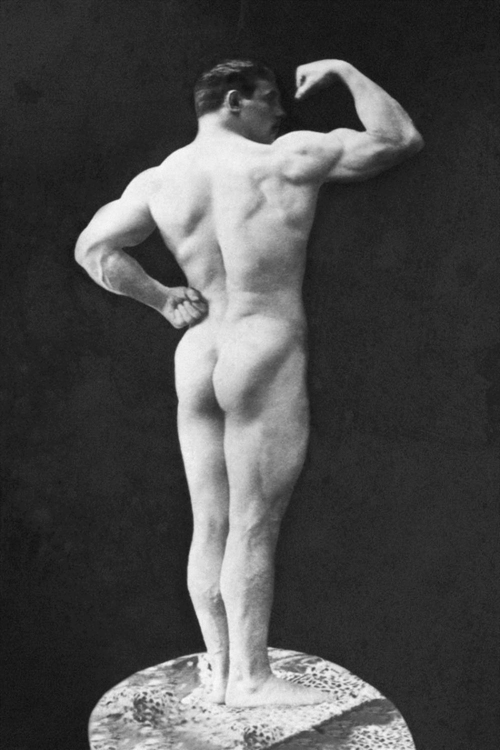 VINTAGE MUSCLE MEN STATUESQUE BACK AND ARM CURL