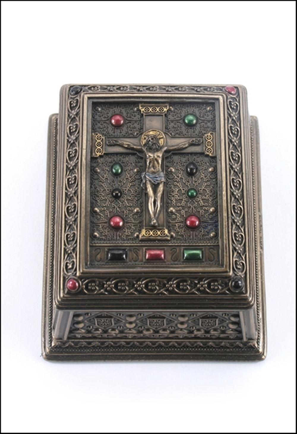 CRUCIFIXION SQUARE TRINKET BOX BRONZE
