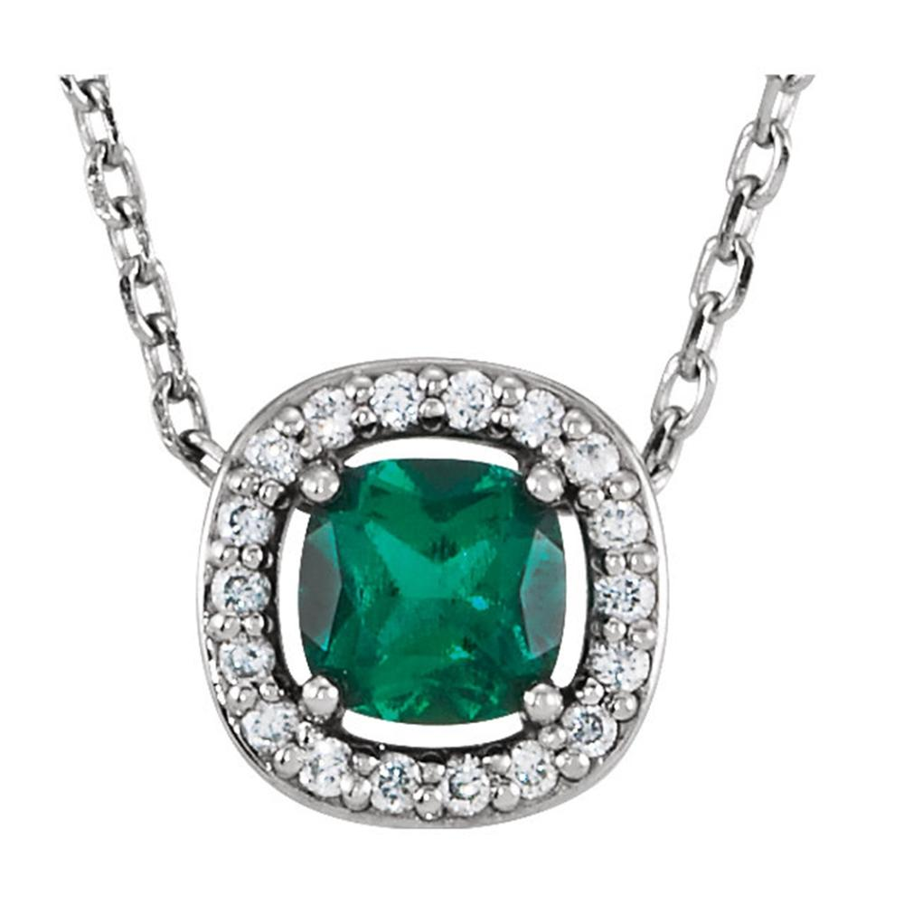 "14K White Chatham® Created Emerald & .04 CTW Diamond 16"" Necklace"