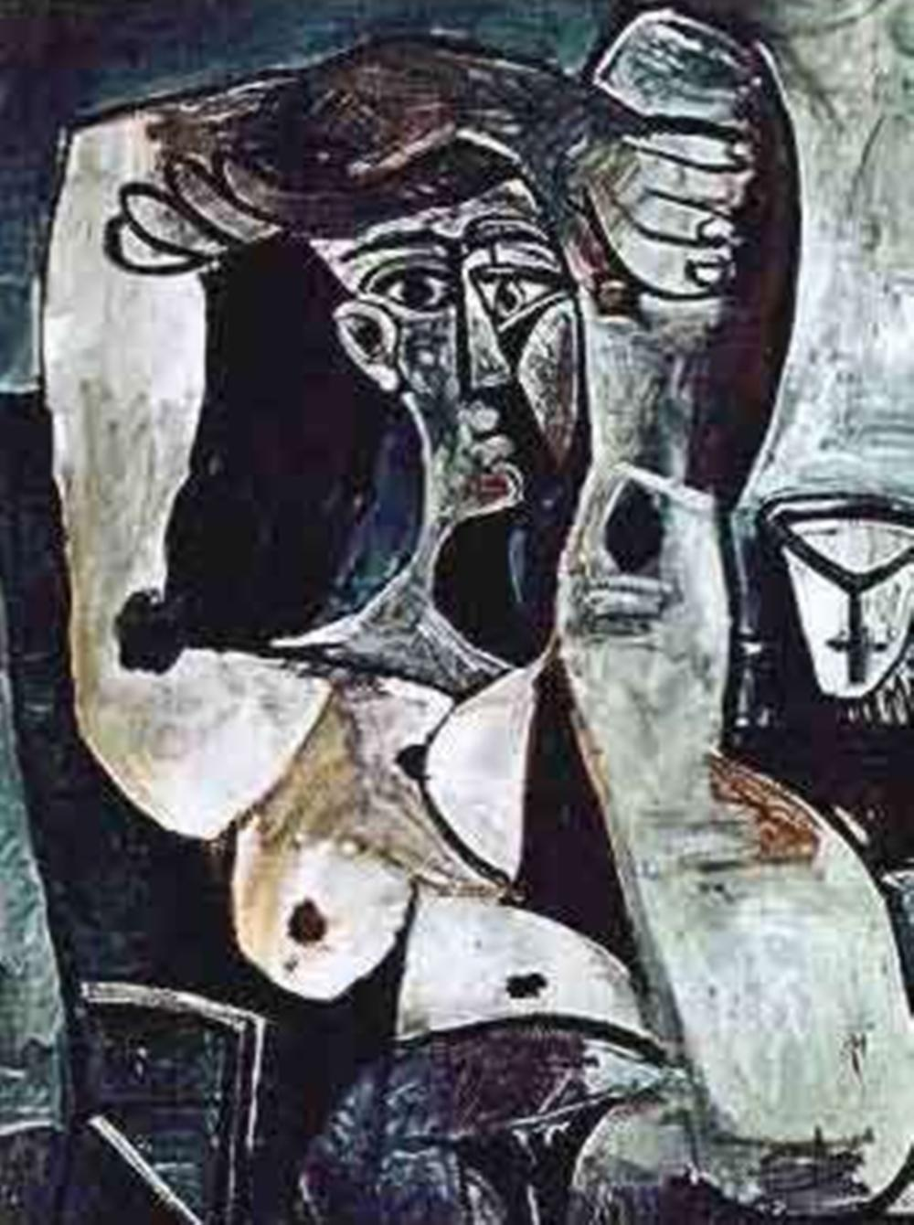 Pablo  Picasso Woman With Arm & Leg Over Head