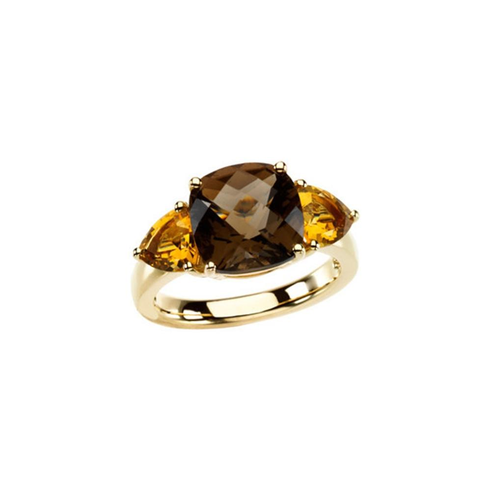 Smoky Quartz & Citrine 3-Stone Ring