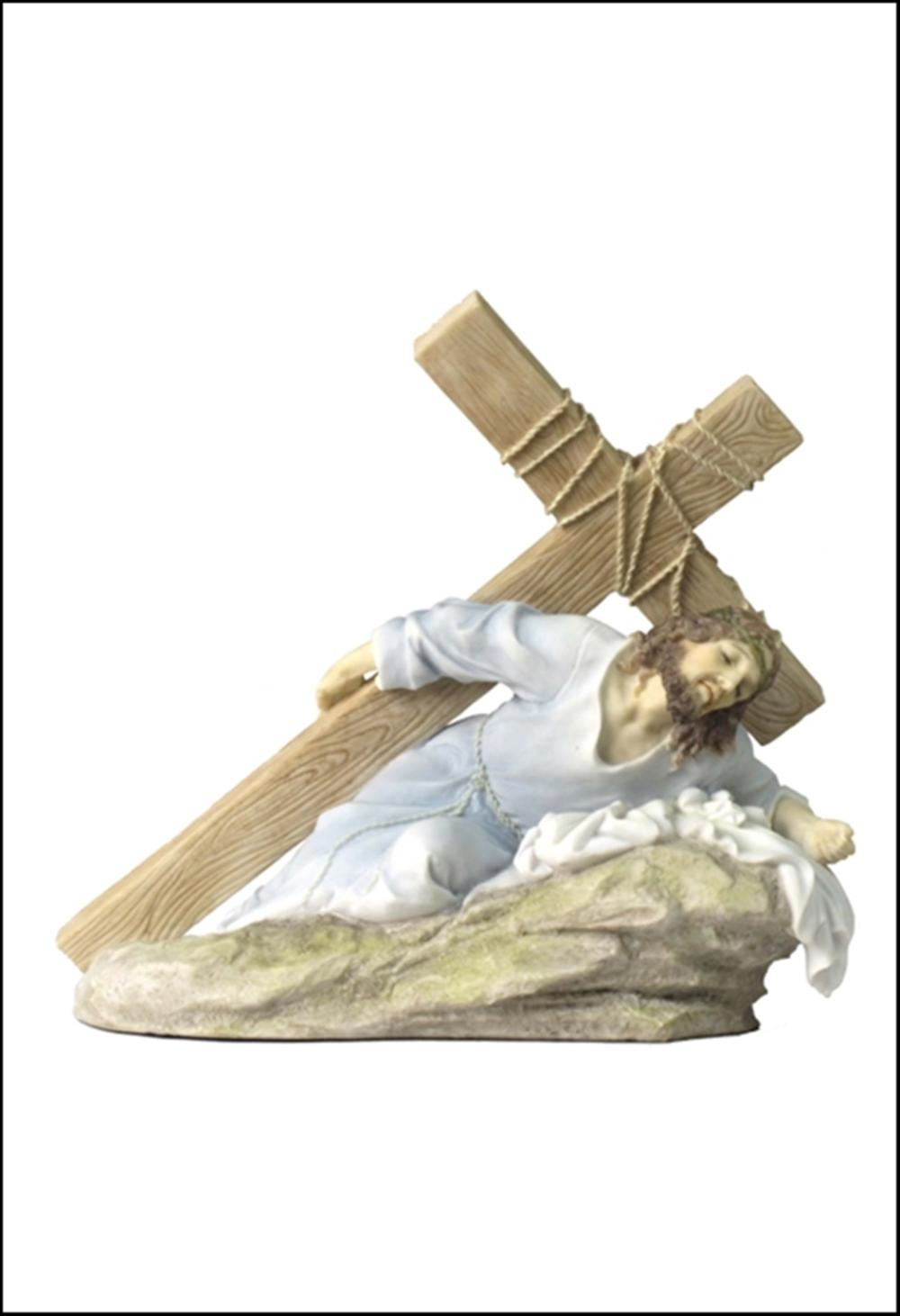 JESUS ON THE GROUND CARRYING THE CRUCIFIX