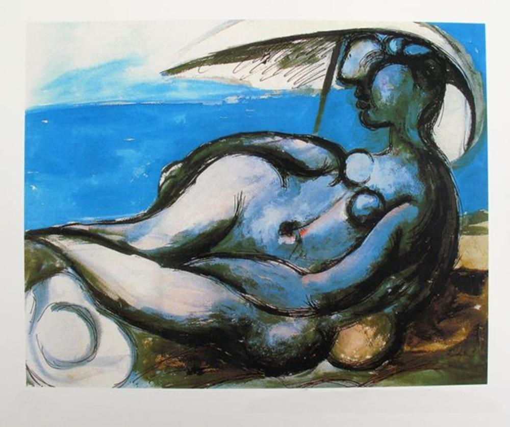 Pablo  Picasso Reclining Nude At Beach