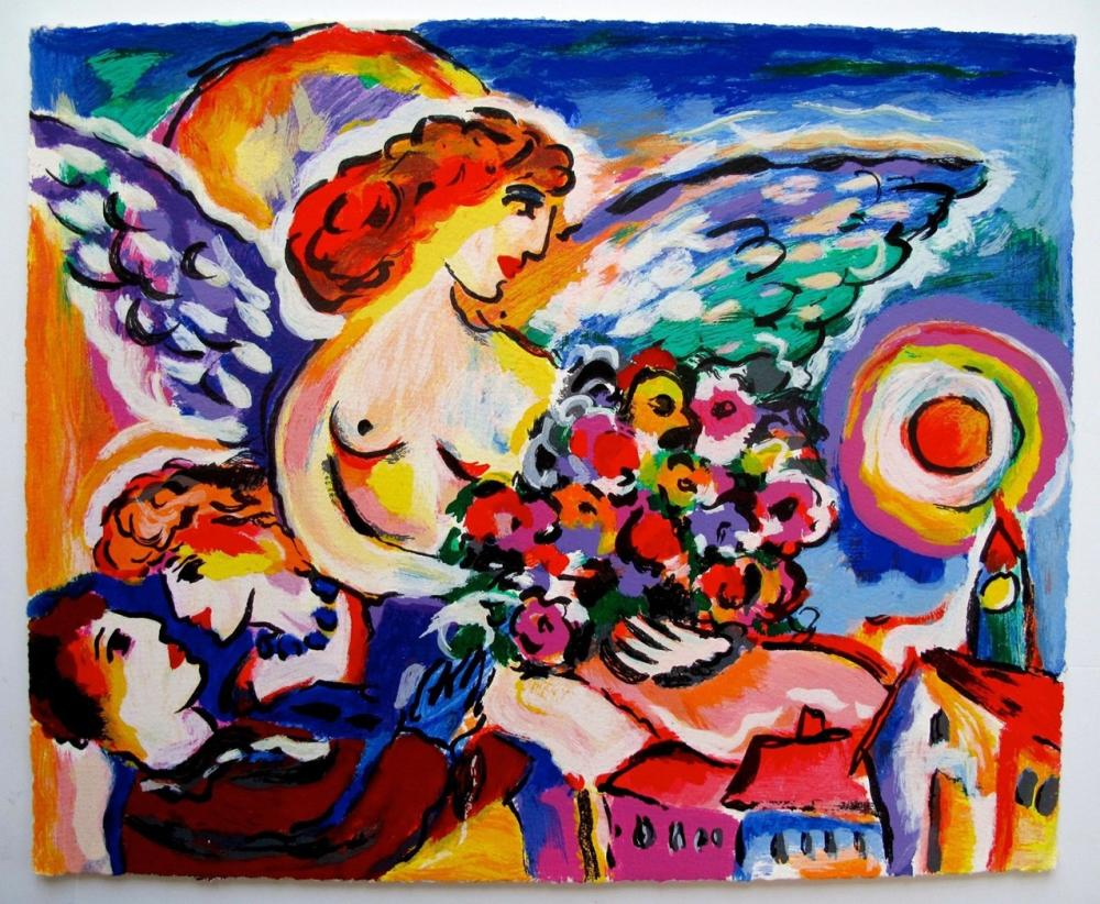Zamy Steynovitz Limited Edition Serigraph Angel With Flowers & Lovers
