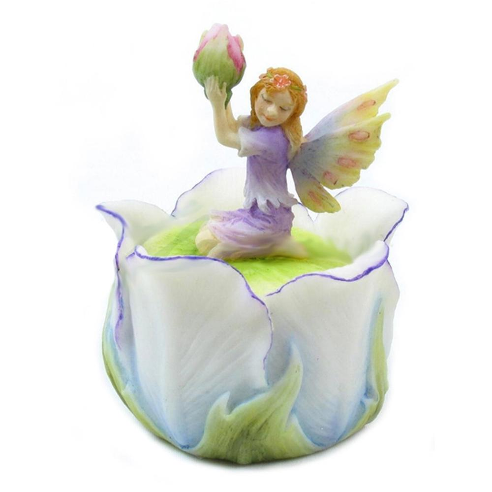 Little Fairy Kneeling On Tulip Trinket Box