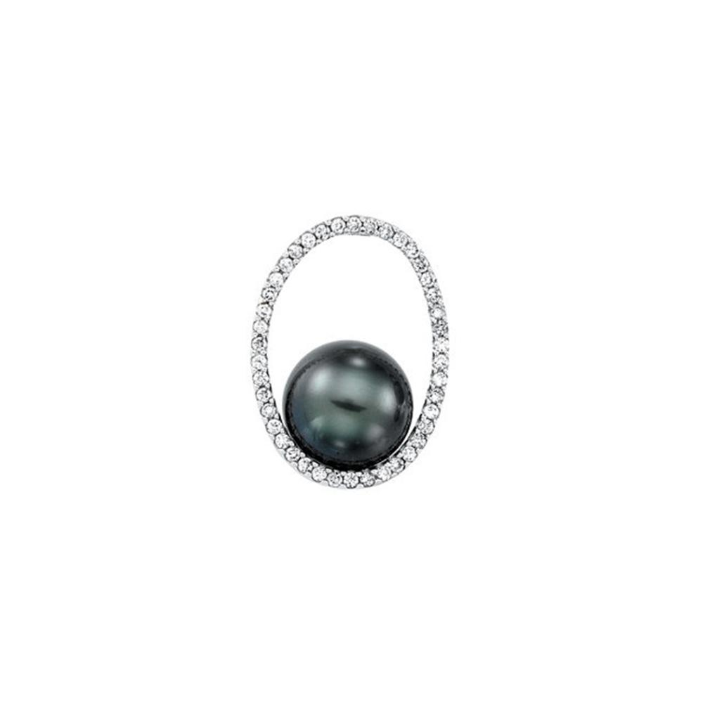 14K White 1/3 CTW Diamond & 11mm Tahitian Pearl Pendant