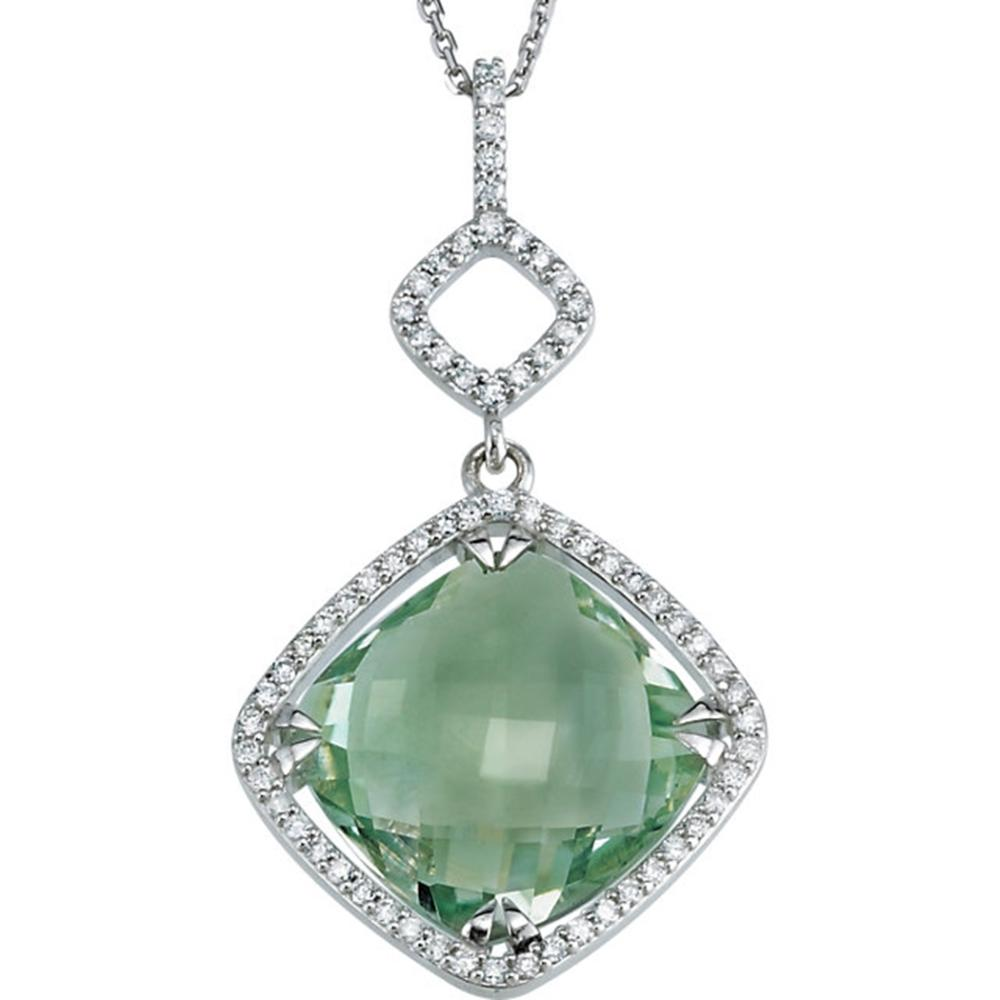 "Sterling Silver Green Quartz & 1/3 CTW Diamond 18"" Necklace"