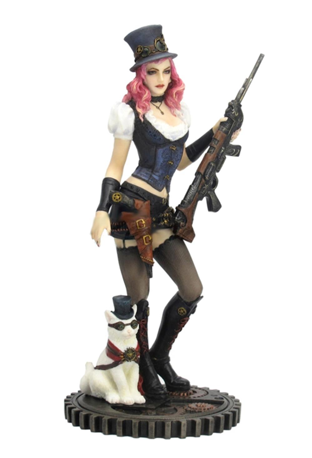 Steampunk Female With Rifle And Cat