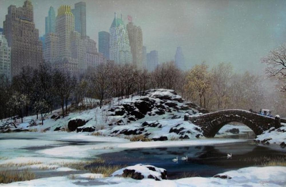 Alexander Chen Central Park Bridge In Winter