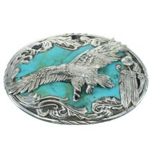 Sterling Silver Turquoise Eagle Feather Belt Buckle
