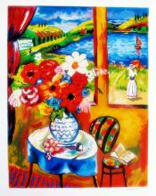 Oleg Nikulov  Flower Vase With Countryside