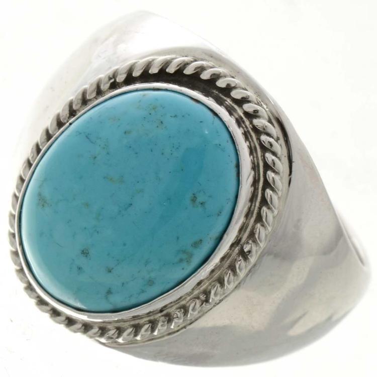 Turquoise Metal Ring Mens