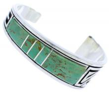 Turquoise Inlay Feather Jewelry Sterling Silver Cuff Bracelet