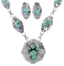 Southwestern Turquoise And Sterling Silver Link Necklace Set